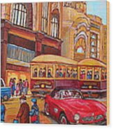 Downtown Montreal-streetcars-couple Near Red Fifties Mustang-montreal Vintage Street Scene Wood Print