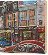 Downtown Montreal Streetscene Wood Print