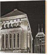 Downtown Monuments Wood Print