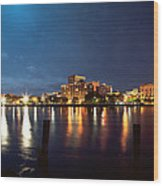 Downtown On The River Wood Print