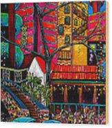 Downtown On The River Wood Print by Patti Schermerhorn