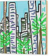 Downtown Wood Print