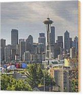 Downtown Seattle Skyline With Mount Rainier Wood Print