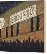 Downtown Seattle With Silhouetted Runners On Brick Wall Early Mo Wood Print