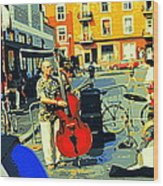 Downtown Street Musicians Perform At The Coffee Shop With Cool Tones On A Hot Summer Day Wood Print
