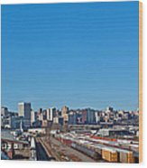 Downtown Tacoma View From The Rail Lines Wood Print