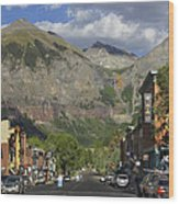 Downtown Telluride Colorado Wood Print by Mike McGlothlen