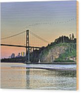 Downtown Vancouver And Lions Gate Bridge At Twilight Wood Print by Eti Reid