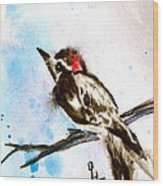 Downy Woodpecker Sumi-e Wood Print