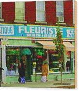 Dozen Red Roses Boutique Fleuriste Coin Vert Notre Dame Street Scene Montreal Art Carole Spandau Wood Print