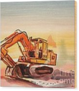 Dozer In Watercolor  Wood Print
