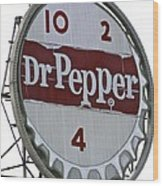 Dr. Pepper Illuminated Landmark Sign Wood Print