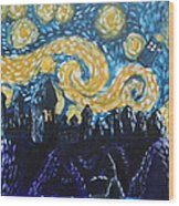 Dr Who Hogwarts Starry Night Wood Print by Jera Sky