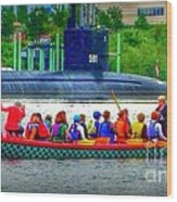 Dragon Boat Challenges Submarine  Wood Print