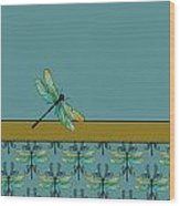 Dragon Fly Nouveau Wood Print by Jenny Armitage