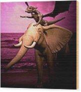 Dragon Riding Elephant Wood Print