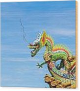 Dragon Sculpture On  Roof Wood Print