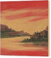Dragon Sunset Wood Print