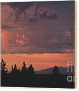 Dragonfire Sunset - Mt. Spokane Wa Wood Print