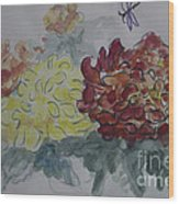 Dragonfly Among Chrysanthemums Wood Print