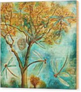 Dragonfly Flirtation Wood Print