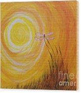 Dragonfly Sun Wood Print