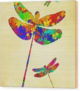 Dragonfly Watercolor Art Wood Print