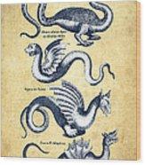Dragons - Historiae Naturalis  - 1657 - Vintage Wood Print