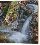 Dragons Teeth Icicles Waterfall Great Smoky Mountains  Wood Print