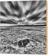 Drama At Freshwater West Mono Wood Print