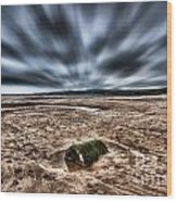 Drama At Freshwater West Wood Print