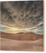 Dramatic Clouds Over The Sand Dunes Wood Print