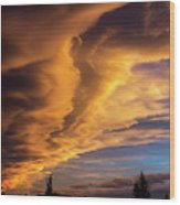 Dramatic Colourful Clouds At Sunset Wood Print