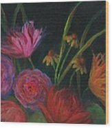 Dramatic Floral Still Life Painting Wood Print