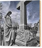 Dramatic Gravestone With Cross And Guardian Angel Wood Print