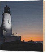Dramatic Lighthouse Sunrise Wood Print