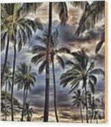 Dramatic Maui Sunset Wood Print