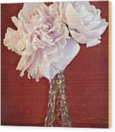 Dramatic Peonies Over Red Wood Print