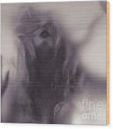 Dramatic Photo Of Woman Blurred Silhouette Behind Hazy Glass Wood Print