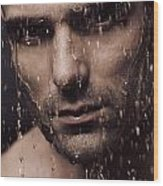 Dramatic Portrait Of Man Face With Water Pouring Over It Wood Print