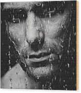Dramatic Portrait Of Man Wet Face Black And White Wood Print