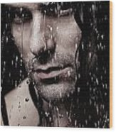 Dramatic Portrait Of Young Man Wet Face With Long Hair Wood Print