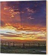 Dramatic Prairie Sunset Wood Print