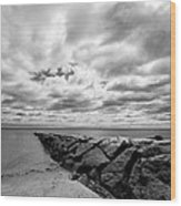 Dramatic Sky At Penfield Jetty Wood Print