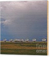 Dramatic Sky Over The Very Large Array Wood Print