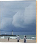 Dramatic Storm Clouds Over Lake Michigan Wood Print