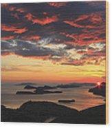 Dramatic Sunset Over Dubrovnik Croatia Wood Print