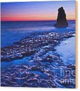 Dramatic Sunset View Of A Sea Stack In Davenport Beach Santa Cruz. Wood Print by Jamie Pham