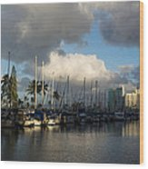 Dramatic Tropical Storm Light Over Honolulu Hawaii  Wood Print