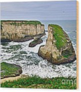 Dramatic View Of Shark Fin Cove In Santa Cruz California. Wood Print